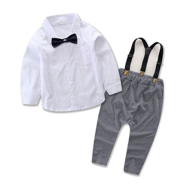 f3d6e8fc04556 2PCS Baby Boys Clothes Summer Newborn Infant Clothes Short Sleeve T-shirt  Shoulder straps Gentleman