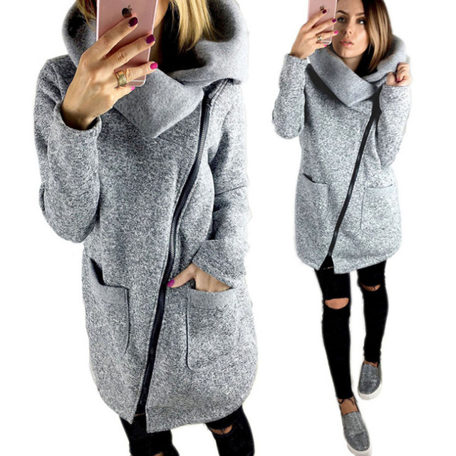 a214d0652459 Plus Size 5XL Women Autumn Winter Clothes Warm Fleece Jacket Slant ...