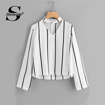 Sheinside Striped Blouse Women Shirts Blouses Autumn Crop Top Long Sleeve Cut Out V Neck With choker 2017 Office Ladies Blouse blouse