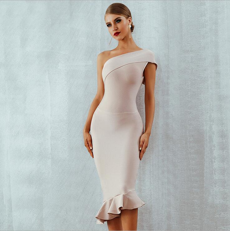 Nouveau été femmes Bandage robe une épaule sans manches volants discothèque robe soirée robe de soirée