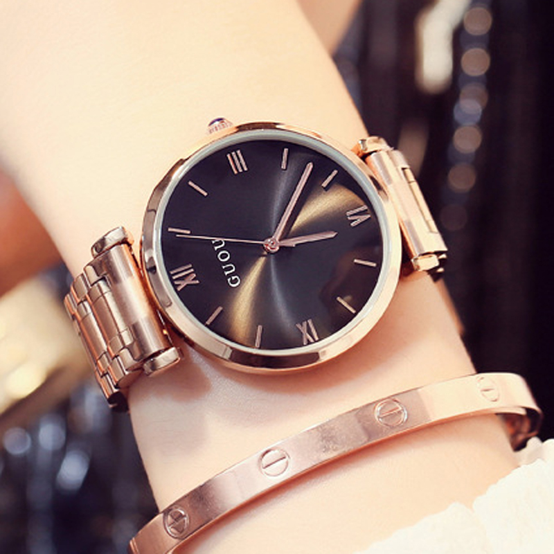 GUOU Women's Watches 2018 Bracelet Ladies Watch Rose Gold Women Watches For Women Top Brand Luxury bayan kol saati simple style mesh steel women watches top brand luxury rose gold black ladies quartz hours woman dress watch bayan kol saati