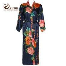 Long Large floral robe Bride Kimono bridesmaid Robe satin bathrobe Night dress