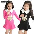 Niña Primavera Vestido de Otoño Volantes de Dibujos Animados Vestido de Negro Collar de la Muñeca de Los Niños de Manga Larga Niñas Vestido de la Princesa 4-12Y