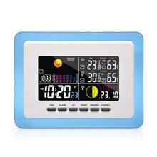 RF RCC Wireless Backlight Weather Station w/ Indoor Outdoor Thermometer Hygrometer Barometer Digital Alarm Clock 3 Transmitters