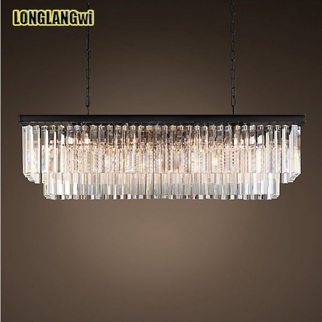 Best Price American Country Crystal Chandelier Dining Room Creative  Rectangular Crystal Pendant Lamp LED Lighting RH Part 66