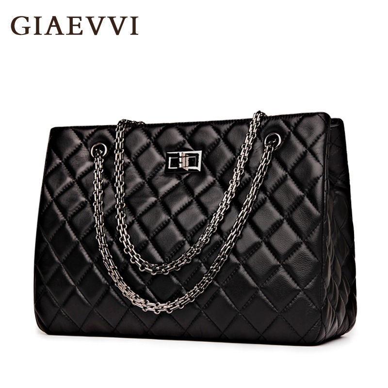 GIAEVVI 2017 New fashion Genuine Leather Big women Messenger bags women Brands luxury Tote ladies handbag Chain shoulder bag giaevvi luxury handbags split leather tote women messenger bags 2017 brand design chain women shoulder bag crossbody for girls