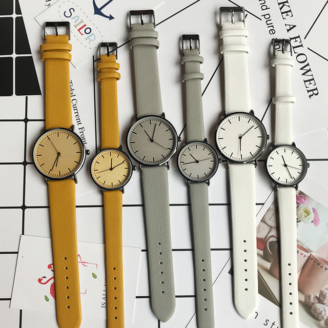Simple style men and women quartz watches fashion minimalist lover's leather wat