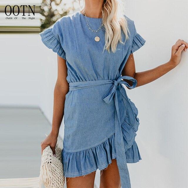 OOTN Denim Wrap Dress Women Bow Tie Sashed Asymmetrical Blue Summer Sundress Female Irregular Mini Dresses Ruffle Short Sleeve