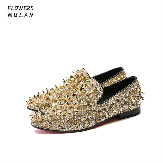 6fd7cea83b9 Name Brand Luxury Designer Shoes Mens Casual Flats Colorful Gold Rivet  Customize Wedding Shoes Rivet Studded Spiked Men Loafers