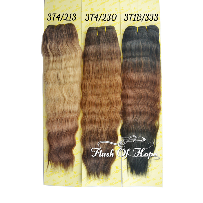Ombre Super Wave Hair Weave Three Tone Color Real Hair Mixed Animal