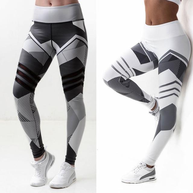 Длинные брюки леггинсы для Для женщин Спортивные штаны с геометрическим принтом Для женщин бег брюки Фитнес Спортивная тренажерный зал тонкий леггинсы YC816208