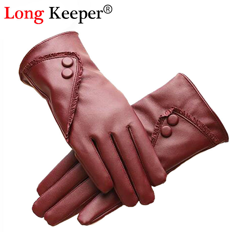 Long Keeper 2016 Women Elegant Gloves Kiss Screen Red Luxury PU Leather Winter Super Driving Warm Gloves Cashmere G218