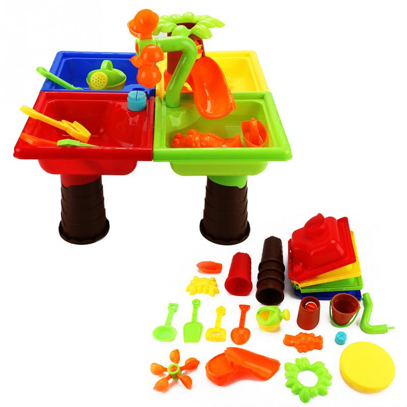 Plastic Baby Beach Toy Set Childrens Beach Table Sand Pool Set 2018 Outdoor Sand Water Play Toys Children Kids Educatioal Gifts
