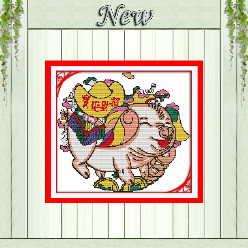 The Wealth Pig Mascot Animal Painting Counted Print On Canvas Dmc 14ct 11ct Chinese Cross Stitch Needlework Sets Embroidery Kits To Ensure A Like-New Appearance Indefinably Package