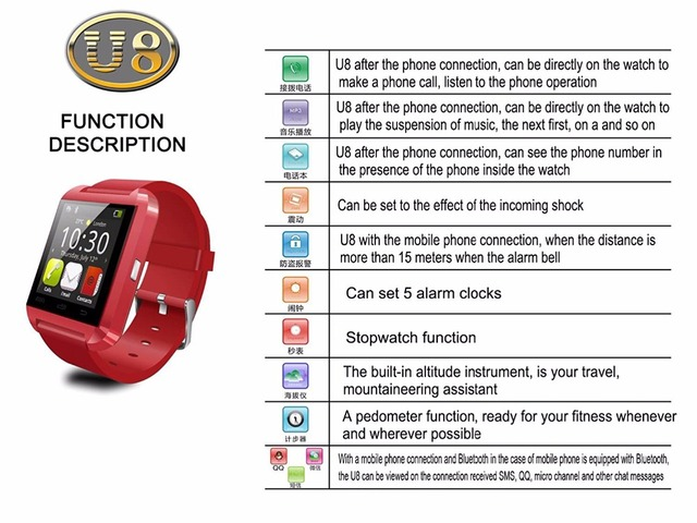 Bluetooth Smart Watch U8 WristWatch Fitness Tracker Watch for Smartphones IOS Apple iphone Android Samsung relojes inteligentes