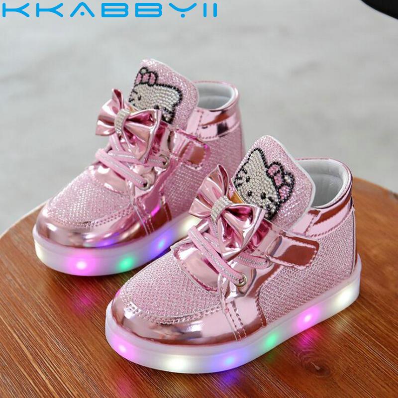Niños Niñas Zapatos otoño niños de luz sneakers chaussure enfant Hello Kitty Zapatos de bebé con luz LED