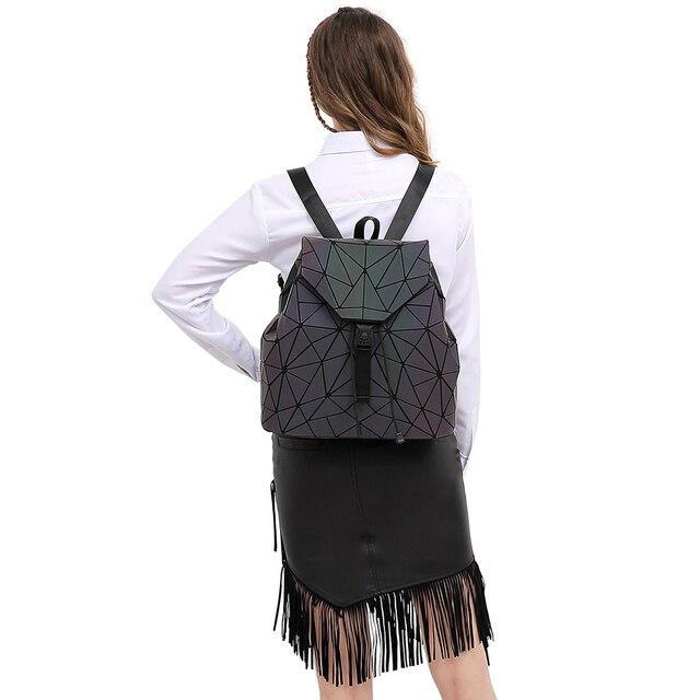 Women Backpack Luminous Geometric Plaid Sequin Female Backpacks For Teenage Girls Bagpack Drawstring Bag Holographic Backpack 5