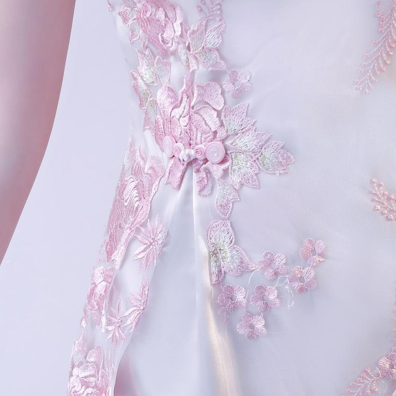 Chino tradicional de encaje bordado cheongsam vestidos de manga corta qipao corto grande para la boda prom party cocktail - 5