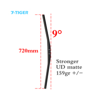 720mm length 9 degrees Carbon Mountain Bicycle Handlebar MTB Bike Handlebar Full carbon fiber bike handle UD Matte flat bars