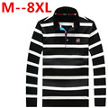 Plus size 9XL 8XL 7XL 6XL 5XL 4XL brand men Long Sleeve Polo New Arrivel Fashion Cotton Anti-Wrinkle striped New 2016 Spring