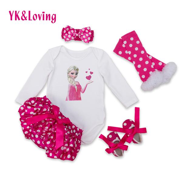 Bebê Conjunto Roupa Da Menina 2016 Verão 100% Algodão Luva Cheia Polka Dot vermelho Curto e Branco Bodysuit 5 pcs Conjuntos Recém-nascidos YK & Amando