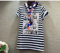 2016 летние новые модели корейских детей одежда оптом фото бусы Девушки T-Shirt dress полосатый прилив Бесплатная Доставка