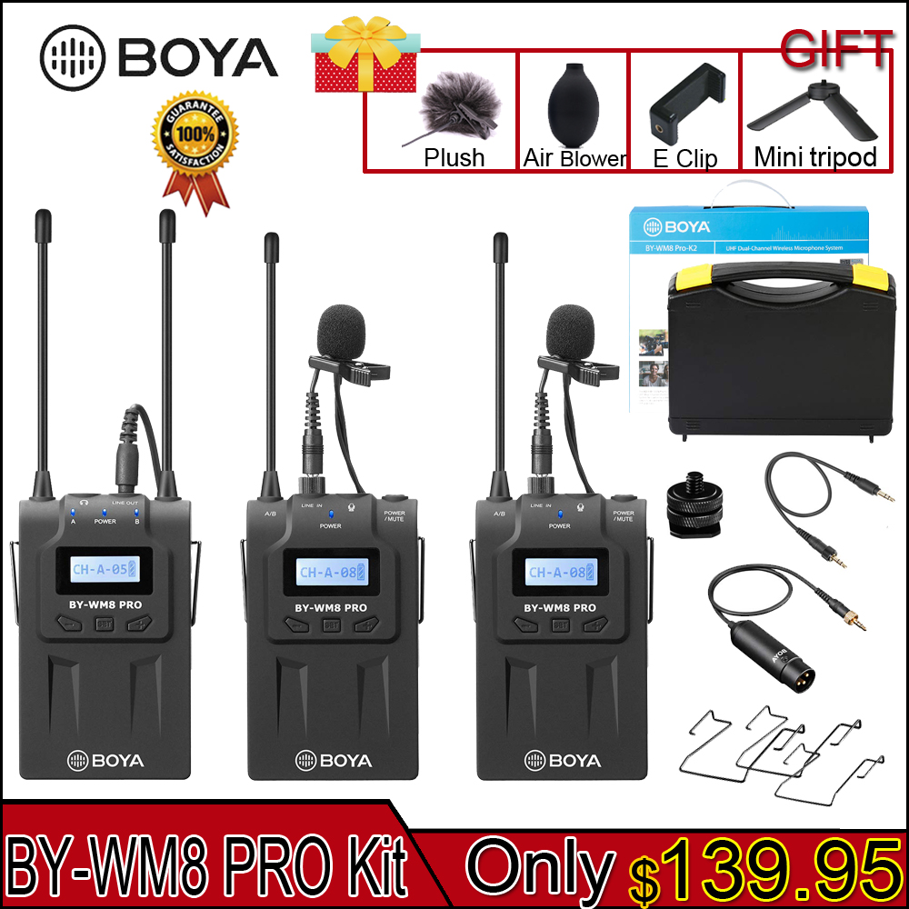 BOYA BY-WM8 Pro K1/K2 Mic Condenser Wireless Mic Microphone System Audio Video Recorder Receiver For Canon Nikon Sony Camera