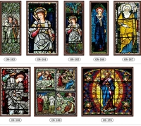 Custom stained glass stickers for windows church home foil stickers self adhesive window film stained glass church windows 4 pcs