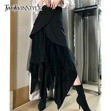 Twotwinstyle das mulheres do vintage saia botão de cintura alta retalhos malha midi saias irregulares preto feminino 2020 primavera outono moda