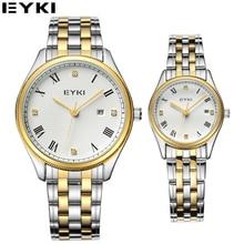 EYKI Relógio Marca de Topo de Ouro Para Casais Amantes de Diamante de Cristal de Luxo relógios de Pulso Das Mulheres Do Escritório de Negócios Relógios Caixa de Presente Pacote