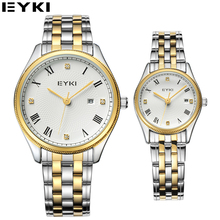 EYKI Top Brand Gold Watch For Couples Luxury Crystal Diamond Women Wristwatches Business Office Lovers Watches Gift Box Package