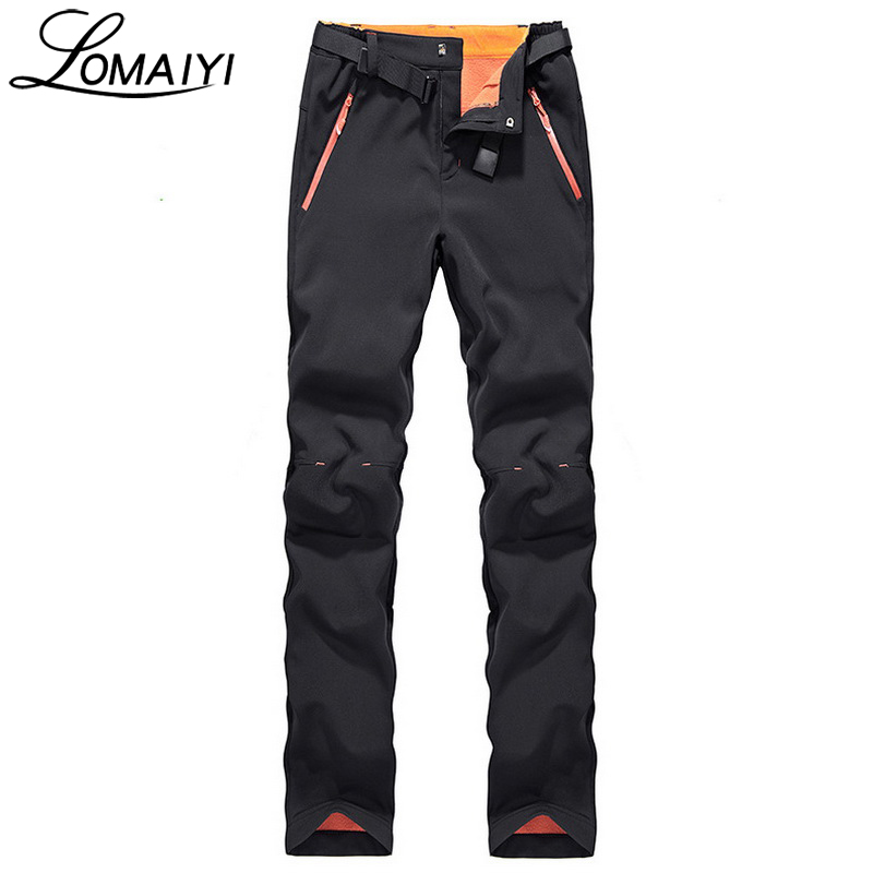 LOMAIYI Women's Winter Casual Pants Women Thick Warm Fleece Lining Trousers Snow Windproof Stretch Black Pants Bottom,AW071