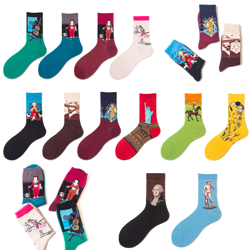 HUI GUAN Hipster Medium Socks Men Abstract Patterned Breathable Art Socks Soft Stretchy Van Gogh All Cotton Fashion Men Socks