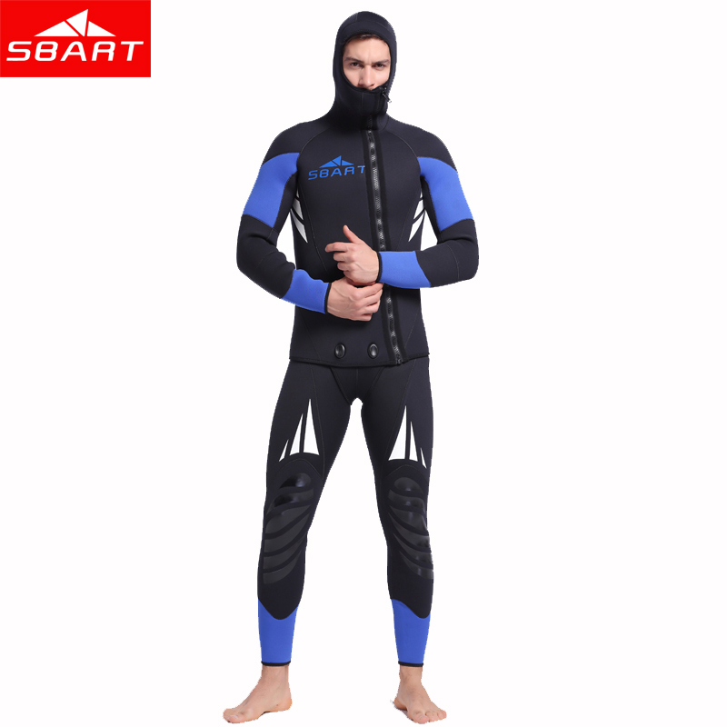 SBART Professional 5mm Neoprene Wetsuit For Spearfishing Swimming Underwater Diving Equipment Suit Set Men Snorkeling Wet Suit K