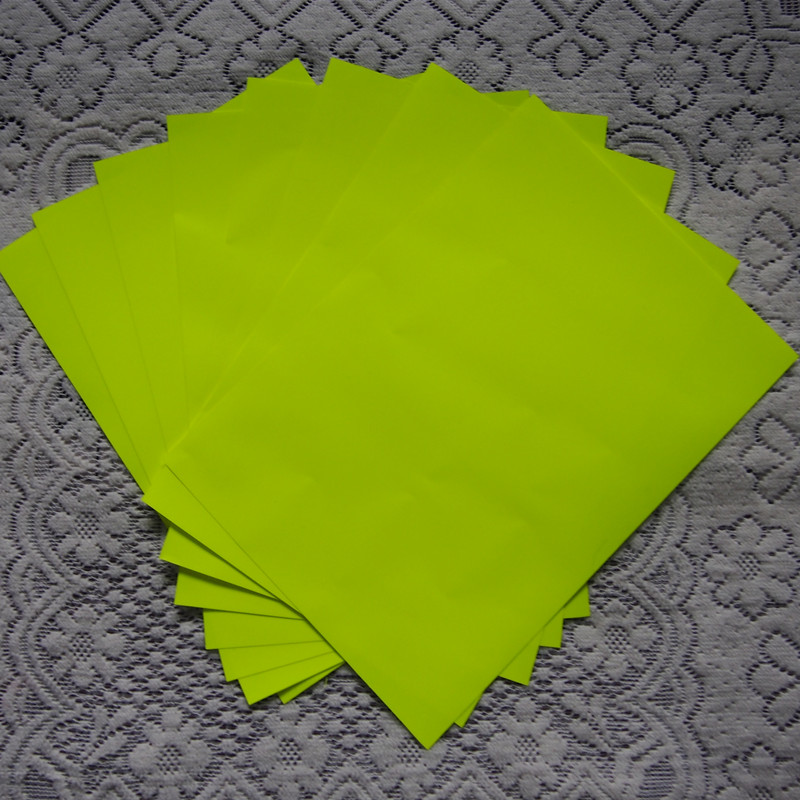 (A4*8 Pcs) Neon Yellow Color Heat Press Vinyl High Quality PU Heat Transfer Vinyl Cuttable PU Film For T-shirts