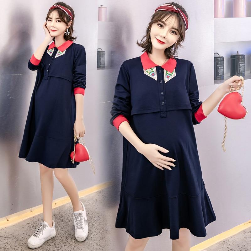 9359# Spring Autumn Korean Fashion Maternity Nursing Dress Breastfeeding Clothes For Pregnant Women Pregnancy Feeding Clothing