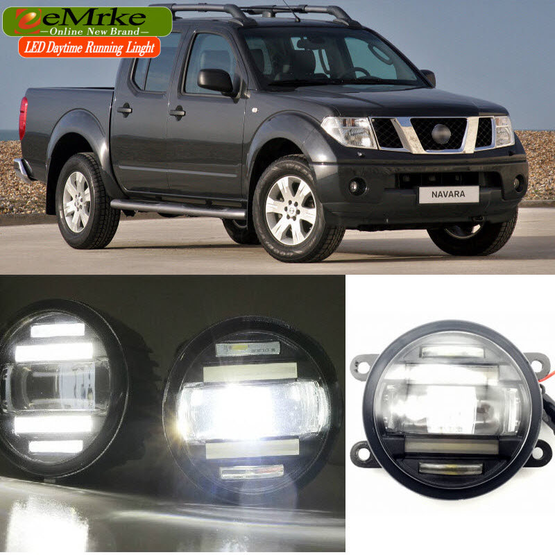 EEMRKE Car Styling for Nissan Navara D40 2004-2015 2 in 1 Double LED DRL Cut-line Lens Fog Lights Daytime Running Lights eemrke car styling for opel zafira opc 2005 2011 2 in 1 led fog light lamp drl with lens daytime running lights
