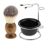 Wood Shaving Brush + Stainless Steel Stand + Soap Cream Mug Bowl Set