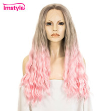 Imstyle Ombre Brown Pink Wigs Synthetic Lace Front Wig Two Tone Wig Deep Wave Long Hair Wigs For Women Heat Resistant Fiber(China)