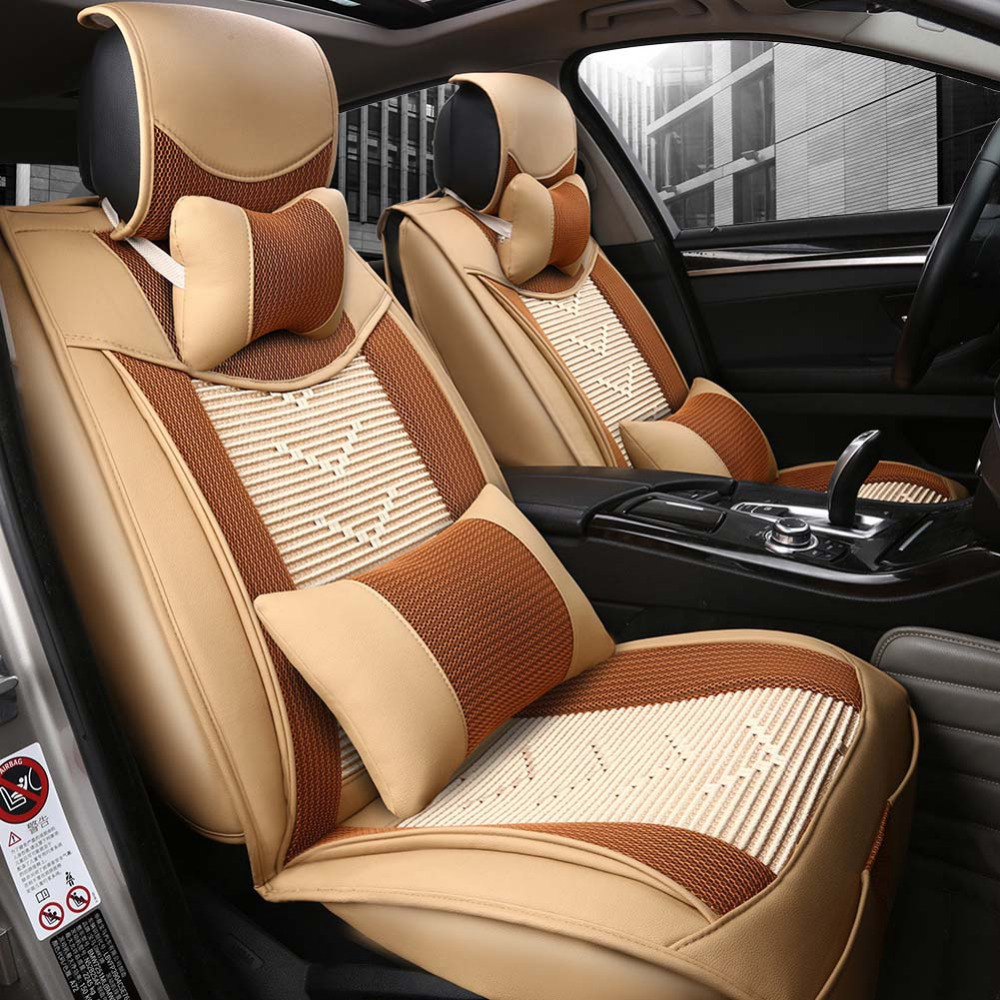 luxury summer ice silk and leather universal car seat cover sport car seat covers whole. Black Bedroom Furniture Sets. Home Design Ideas