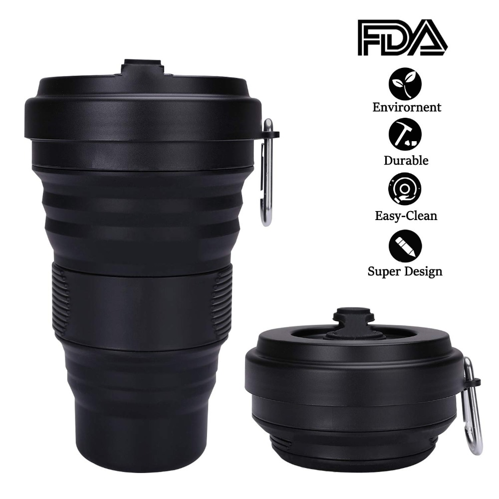 Collapsible Coffee Cup with Lids 550ml Leak Proof BPA Free Eco Reusable Coffee Mug Portable Water Bottle Travel Cup All Black