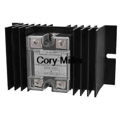 AC 25-380V Solid State Relay Voltage Resistance Regulator 40A w Black Heat Sink 25a ac 380v solid state relay voltage resistance regulator w aluminum heat sink
