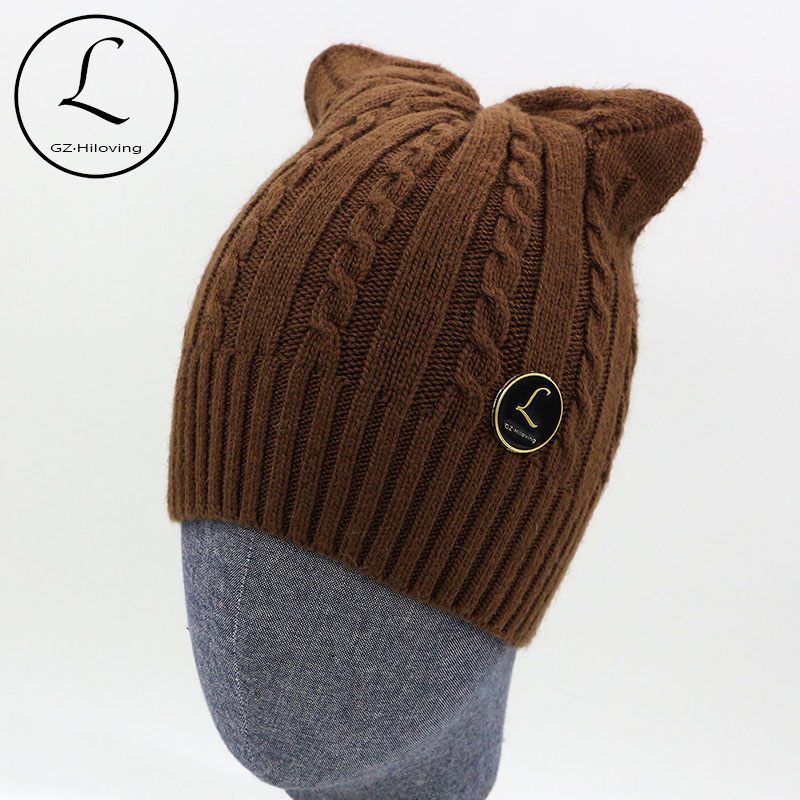 2017 Women Beanies Winter Hat With Ears Warm Beanie Girl Hats Knitted Wool Skullies Beanie Women Cap Rabbit Fur Beanie Knitting 2017 new wool grey beanie hat for women warm simple style bad hair day knitting winter wooly hats online ds20170123 x24