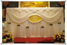 3M*6M white ice silk wedding backdrop curtain with swags Wedding Props Satin Drape pleated Wedding Stage Decorations Backdrops