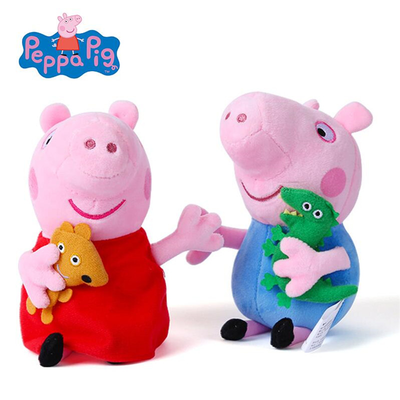 Image 2 - Peppa pig George pepa Pig Family Plush Toys 19cm Stuffed Doll Party decorations Schoolbag Ornament Keychain Toys For Children-in Movies & TV from Toys & Hobbies
