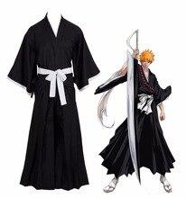 חם אנימה Cosplay תלבושות Bleach Kurosaki Ichigo Robe גלימת מעיל משלוח חינם יפני אנימה Cosplay תלבושות ליל כל הקדושים