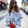 Mulheres primavera Tops 2017 Moda Fora Do Ombro Plissado Blusa Túnica Top Listrado Azul Blusas E Camisas Mulheres Sexy Ombro Frio Top