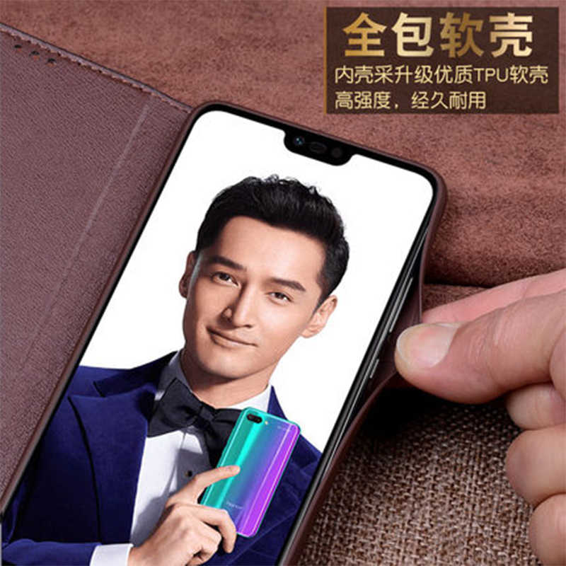 Honor10 classique livre étui support à rabat pour Huawei Honor 10 luxe vache en cuir véritable téléphone Fundas peau Ultra-mince mode couverture