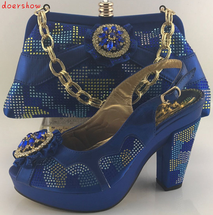 doershow women shoe and bag to match set for party Italian women's shoe and bag set new design african shoe and bag set  HKB1-13