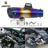 ZSDTRP 60mm Inlet Universal Motorcycle Exhaust Pipe SC GP Carbon Fiber Racing Muffler GP Exhaust CB400